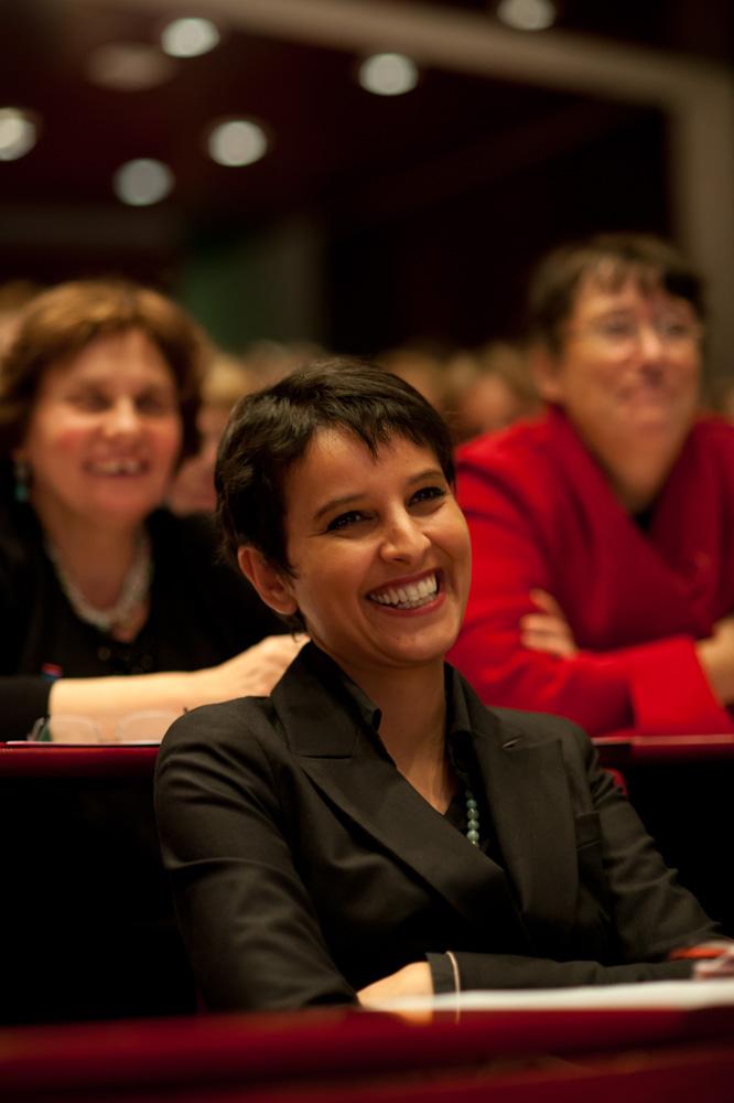 L'ancienne ministre des Droits des femmes, Najat Vallaut-Belkacem, lors d'un colloque à la Sorbonne.